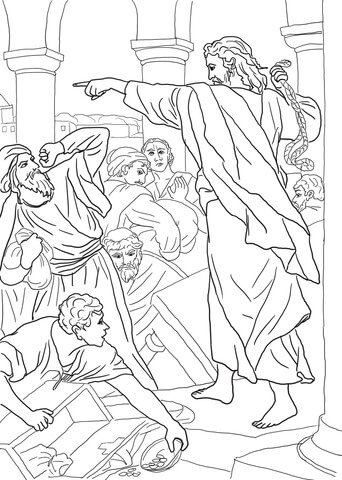 Jesus Chasing The Money Changers From Temple Coloring Page