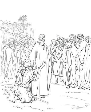Printable Zacchaeus Coloring Page : Jesus healing the demon possessed man coloring page free