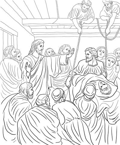 Jesus Heals Paralytic Man Coloring Page