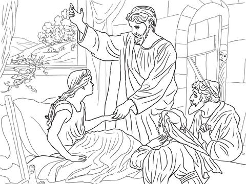 Printable Zacchaeus Coloring Page : Jesus raises jairus daughter coloring page free printable