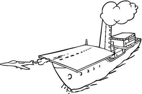 Jet Is Taking Off From Aircraft Carrier Coloring Page
