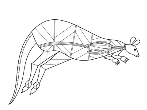 Kangaroo in Aboriginal Style coloring page