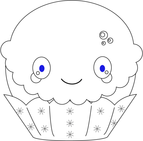 Kawaii Christmas Cupcake coloring page