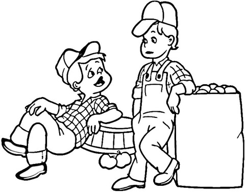 Kids farmers coloring page