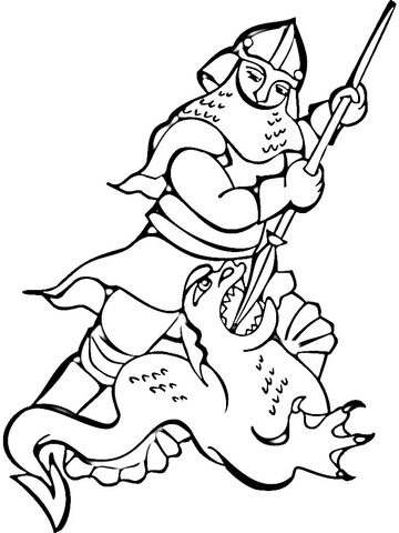 Knight Fighting the Dragon coloring page