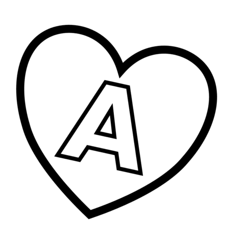 Letter A in Heart coloring page