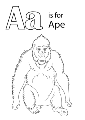 Letter A is for Ape coloring page