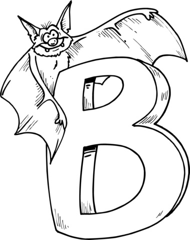 Letter B is for Bat coloring page