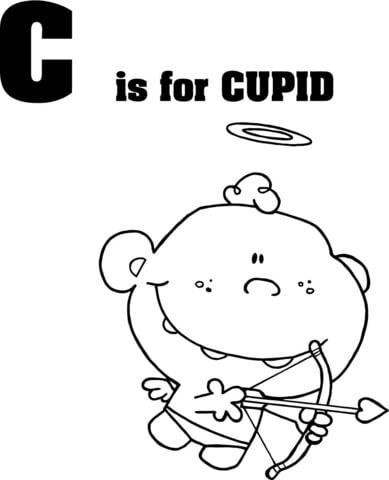 Letter C is for Cupid coloring page