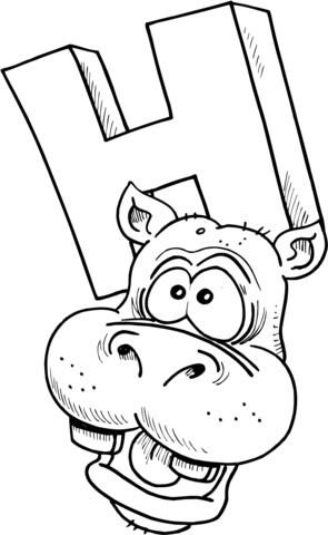 Letter H is for Hippopotamus coloring page