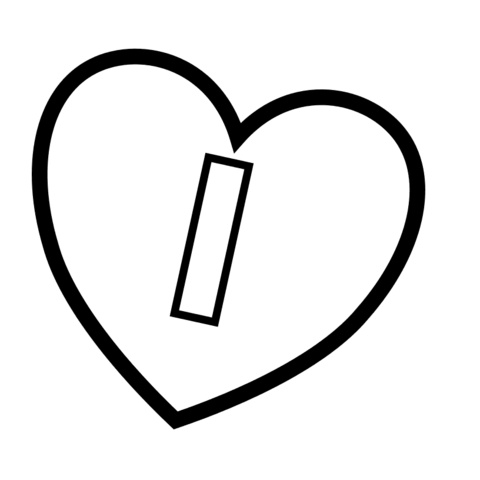 Letter I in Heart coloring page