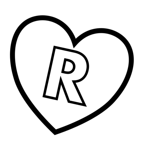 Letter R in Heart coloring page