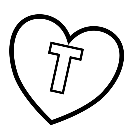 Letter T In Heart Coloring Page Free Printable Coloring Pages
