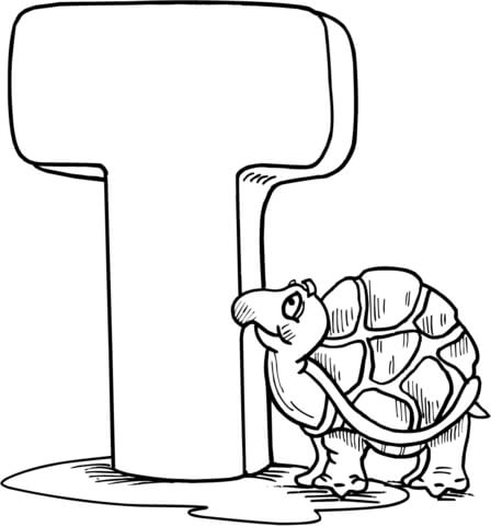 Letter T is for Tortoise coloring page