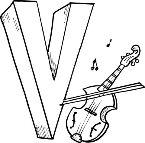 Letter V is for Violin coloring page