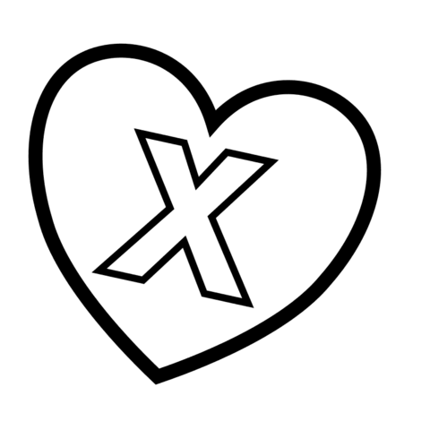 Letter X in Heart coloring page