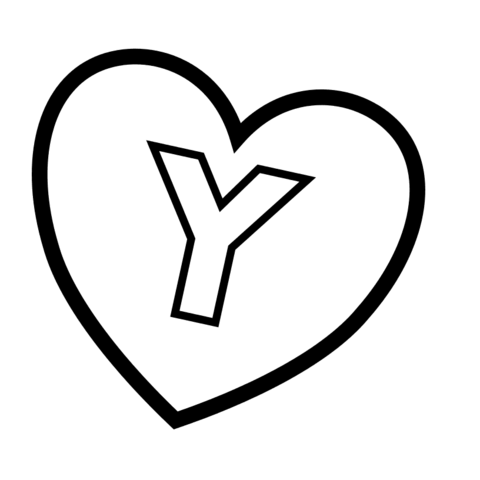 Letter Y in Heart coloring page