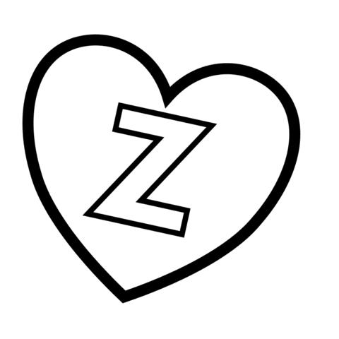 Letter Z in Heart coloring page