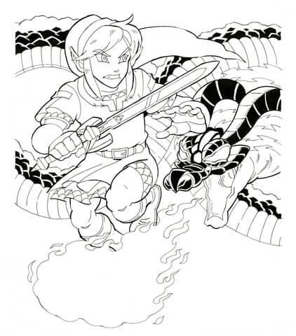 Toon Link from Legend of Zelda Wind Waker coloring page - Free ...