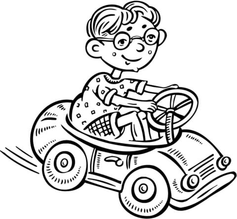 Little Boy Driving A Toy Car Coloring Page
