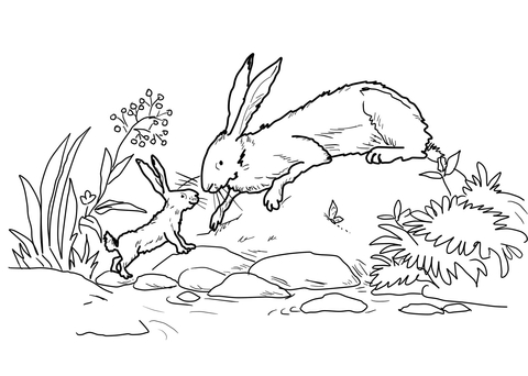 Little Nutbrown Hare and Big Nutbrown Hare Were Down by the River coloring page