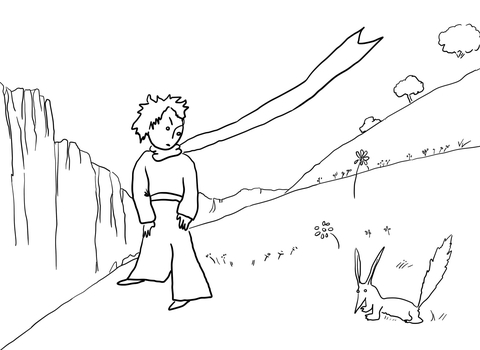 Little Prince Meets the Fox coloring page