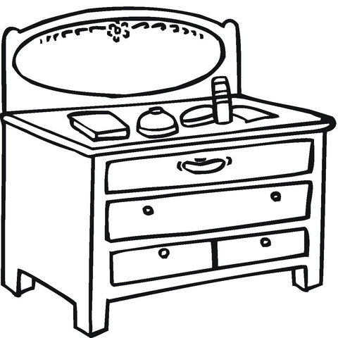 Little Table With Mirror  coloring page