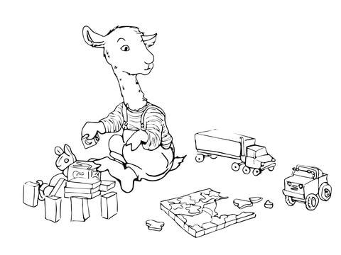 llama llama having fun coloring page