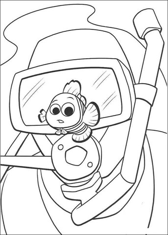 Diver and Nemo coloring page