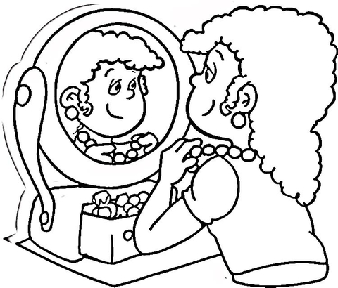Looking in the Mirror  coloring page