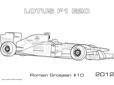 Lotus 2012 E20 Formula 1 Car Coloring Page
