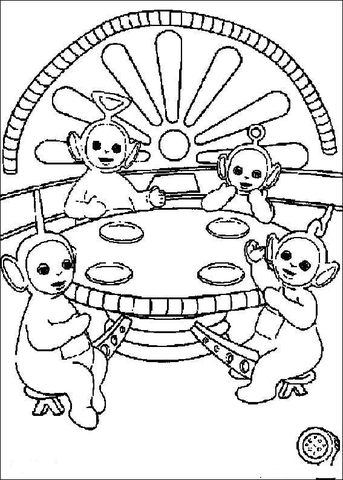 Teletubbies are having Lunch Together  coloring page
