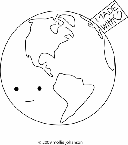 Earth – Made with Love coloring page