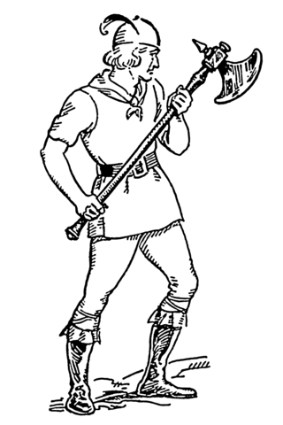 Man Holding a Battle Axe coloring page