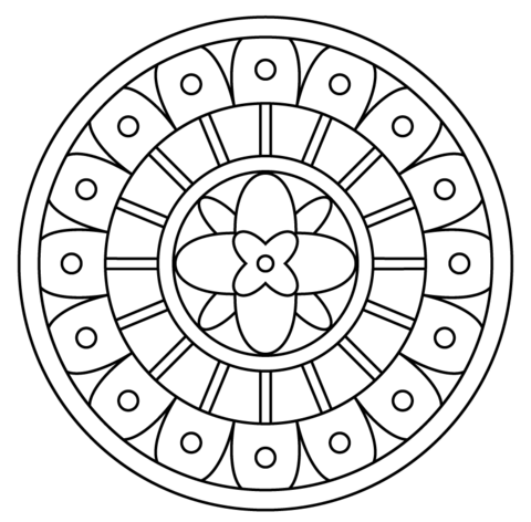 Mandala with Abstract Pattern coloring page