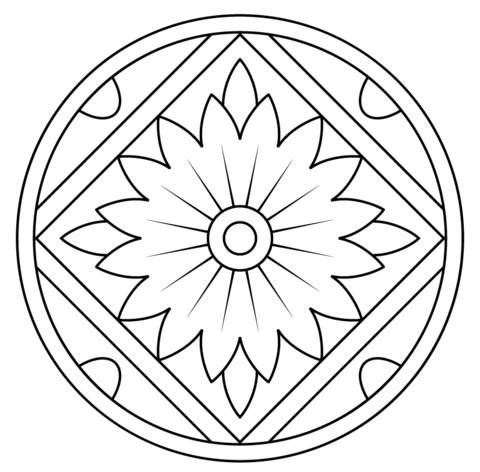 Mandala with Floral Pattern coloring page