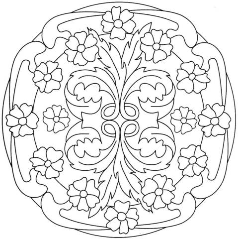 Mandala with Flower Pattern coloring page