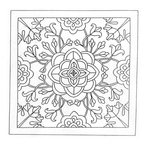 Mandala with Flowers coloring page