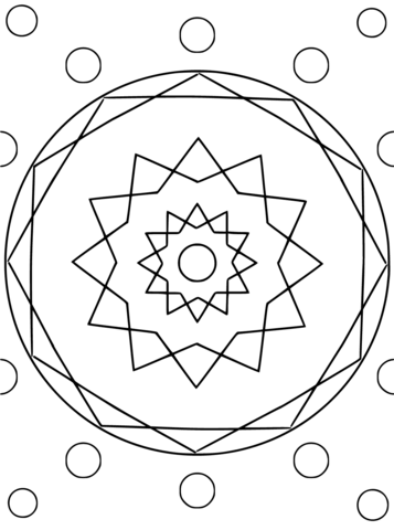 Mandala with Hexagon and Circles coloring page