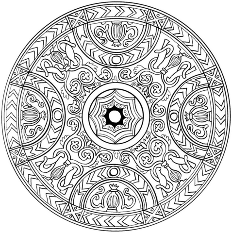 Mandala with Ornament coloring page