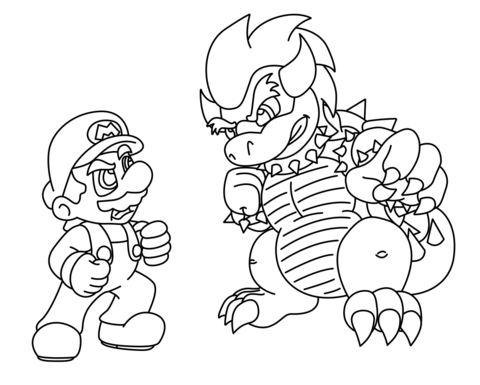 Mario vs. Bowser coloring page