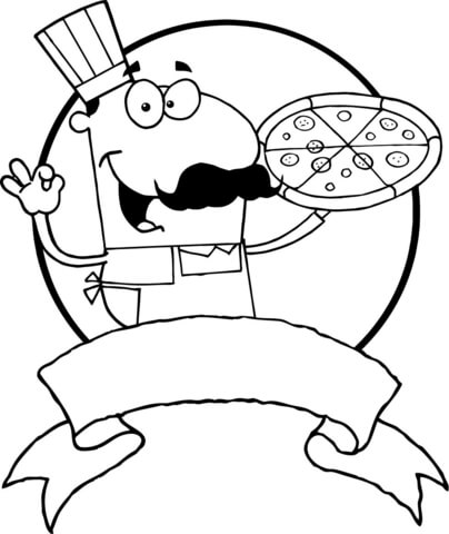 Italian Pizza Chef coloring page