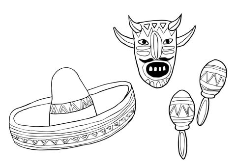 Mask Sombrero and Maracas coloring page