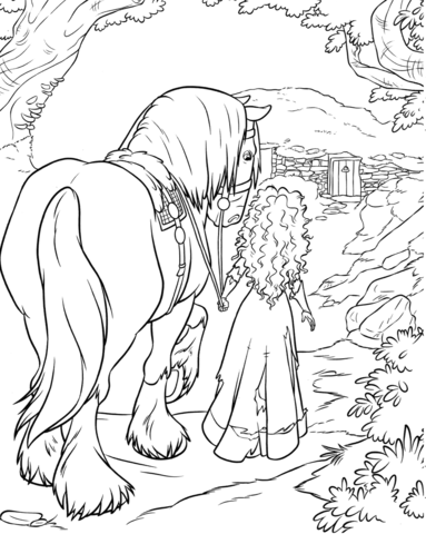 Merida And Angus coloring page