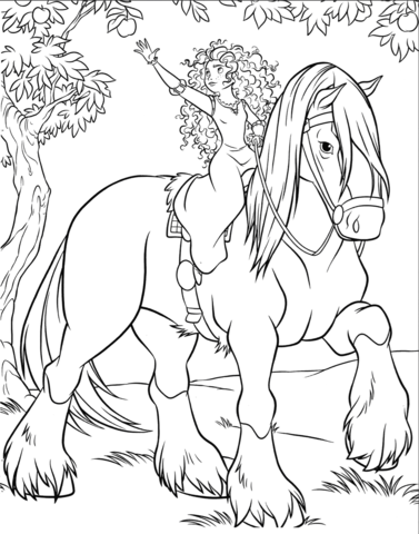 Merida is Riding Angus coloring page