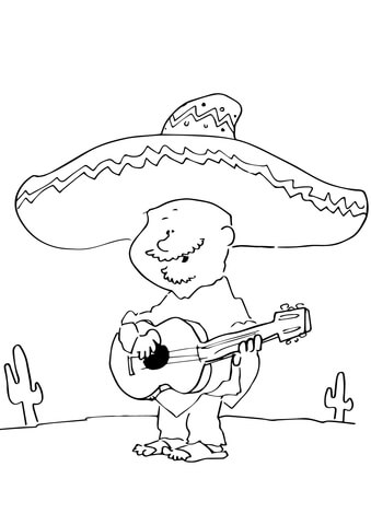 Mexican Playing Guitar coloring page