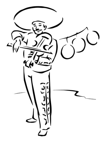 Mexican Violinist coloring page