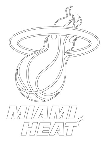 Kevin Durant Coloring Page Miami Heat Logo