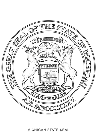 Michigan State Seal coloring page