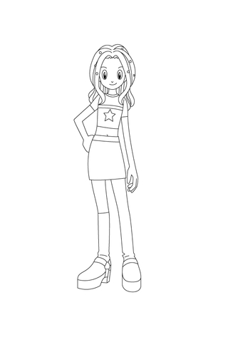 Mimi Tachikawa Is Waiting With Her Hand On Her Hip coloring page